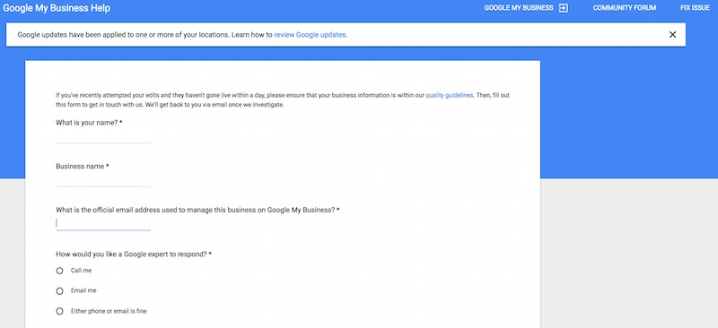 Google My Business Support Page