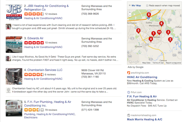 Local business citations in Yelp