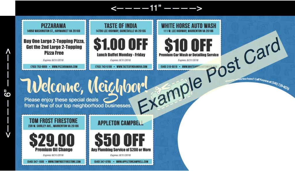 Welcome Neighbor Postcard Example Back Side