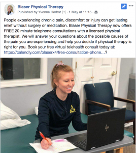 Blaser Physical Therapy telehealth consultations