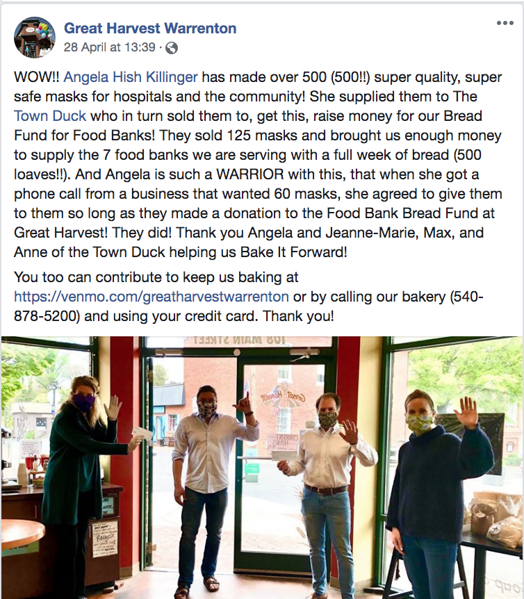 Great Harvest Warrenton Food Bank Donations